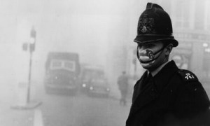 smog policeman with mask