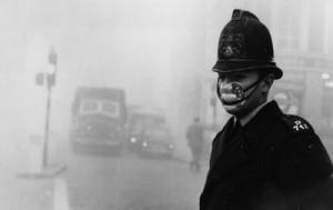 smog policeman with mask