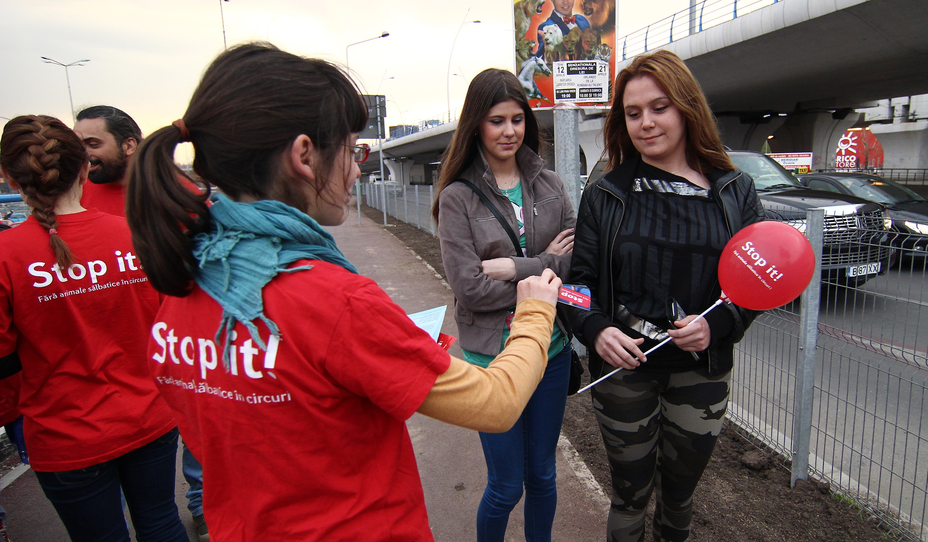 Echipa Vier Pfoten in cadrul campaniei de constientizare