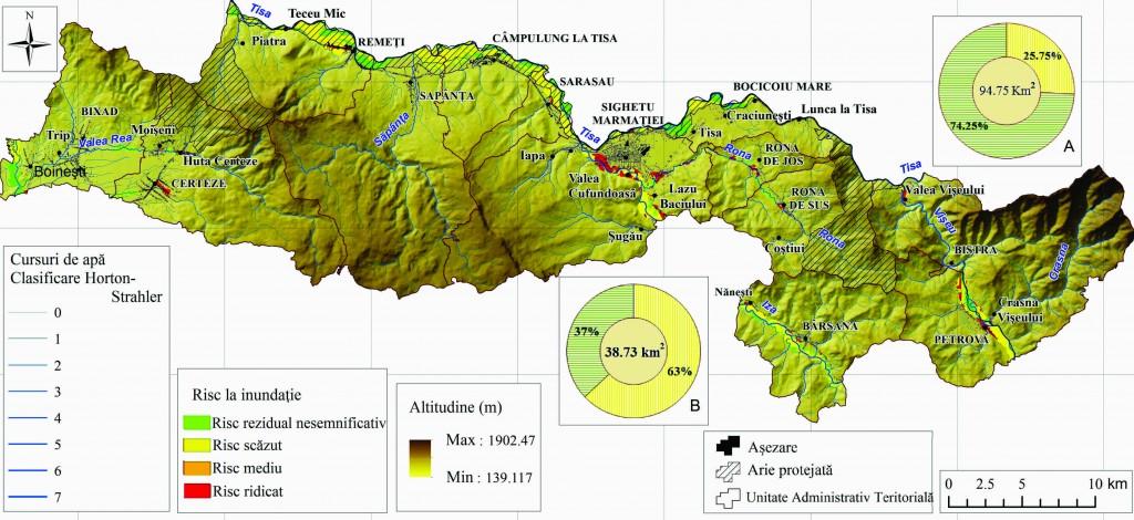 """Fig. 2. Riscul la inundaţii cu probabilitate de 1% suprapuse UAT-urilor şi ariilor protejate Natura 2000 Pricop - Huta-Certeze şi Tisa Superioară (compozit procesat pornind de la Directiva Inundații - Administraţia Naţională ,,Apele Române"""")"""