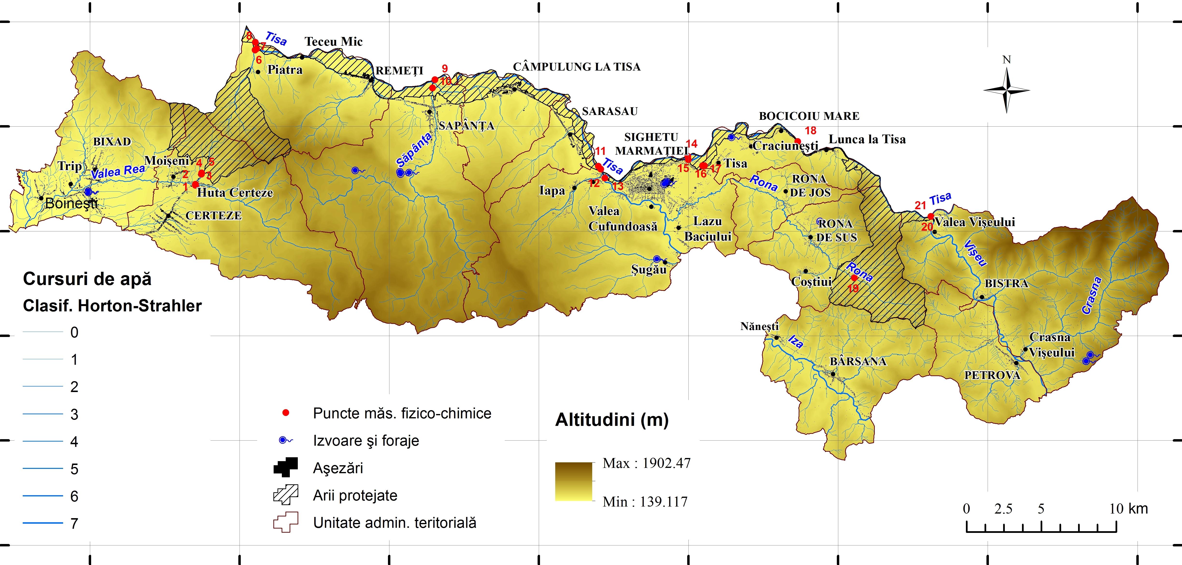 Fig. 1 Harta hidrografica si puncte recoltare