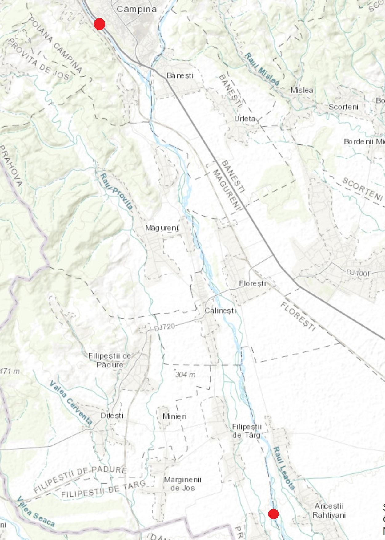 Figura 2. Amplasarea secțiunilor de control pe râul Prahova Sursa: www.arcgis.com