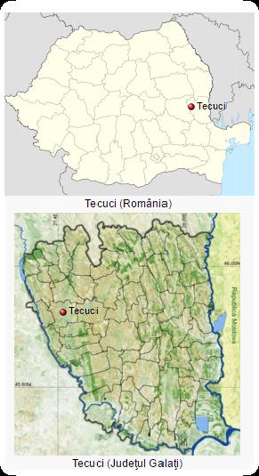 Tecuci -Poziție Geografică și Poziție pe Harta Județului Galați