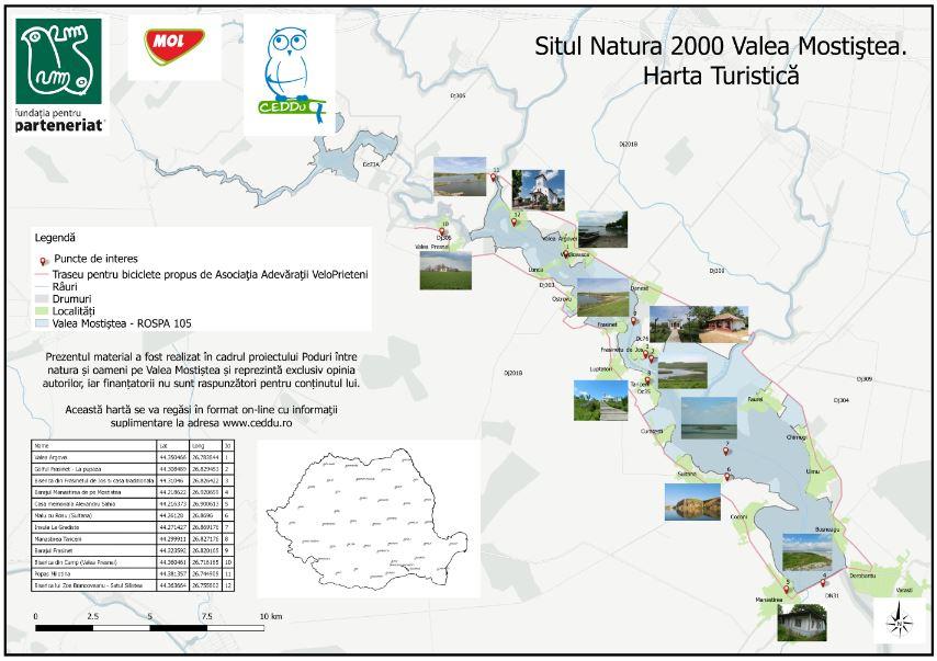 Harta turistica a Sitului Natura 2000 Valea Mostistea