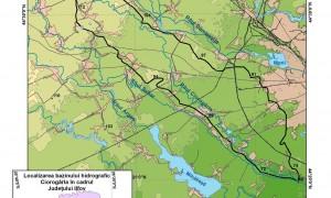 Fig.1 Poziţia geografică în România şi în judeţ a bazinului hidrografic al râului Ciorogârla